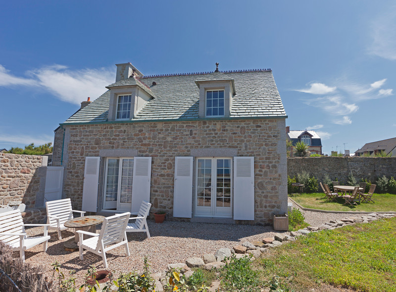 Traditional granite house with slate roof in Normandy - Barfleur, Basse Normandy, France