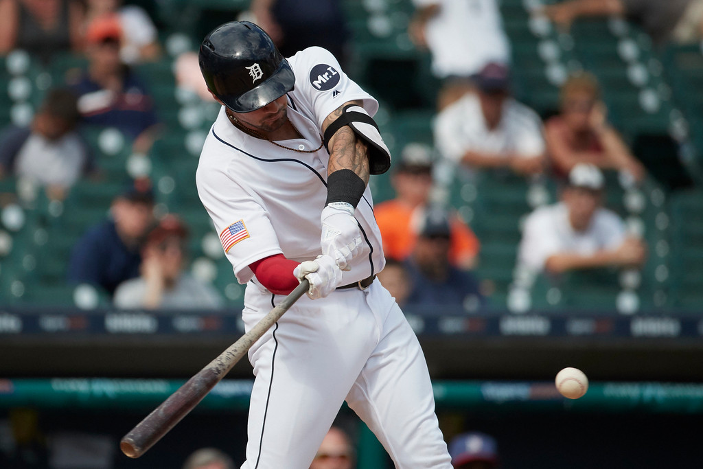 . Detroit Tigers Nicholas Castellanos hits a two run home run against the Cleveland Indians in the ninth inning of a baseball game in Detroit, Sunday, July 2, 2017. Cleveland won 11- 8. (AP Photo/Rick Osentoski)