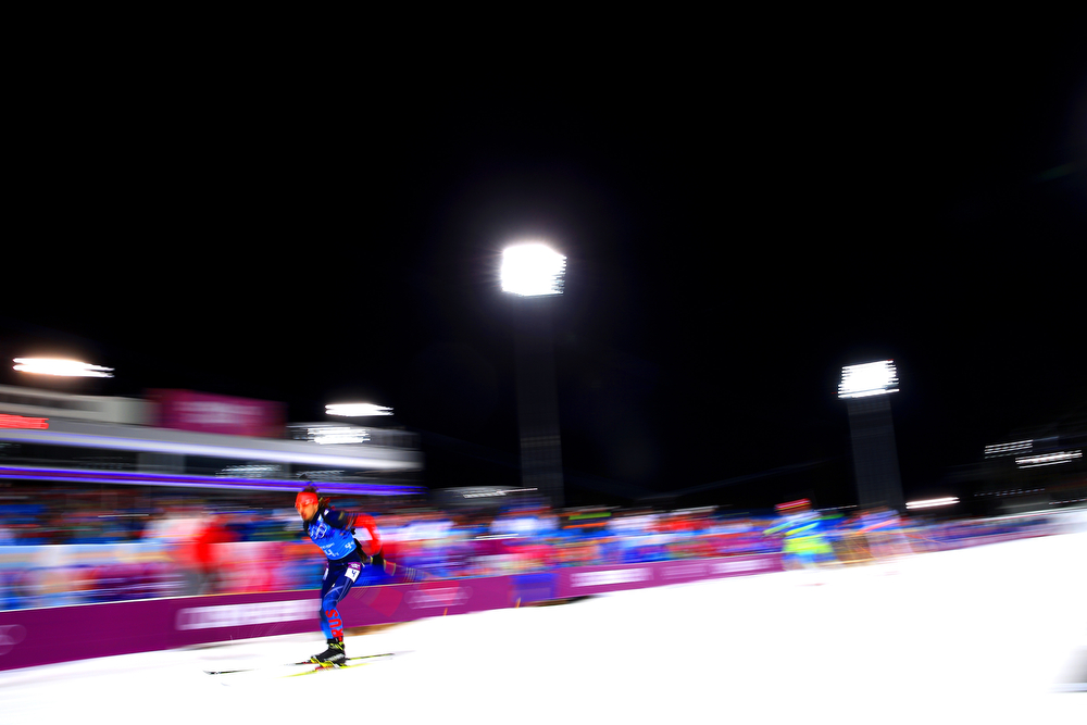 . Anton Shipulin of Russia competes during the Men\'s 4 x 7.5 km Relay during day 15 of the Sochi 2014 Winter Olympics at Laura Cross-country Ski & Biathlon Center on February 22, 2014 in Sochi, Russia.  (Photo by Richard Heathcote/Getty Images)
