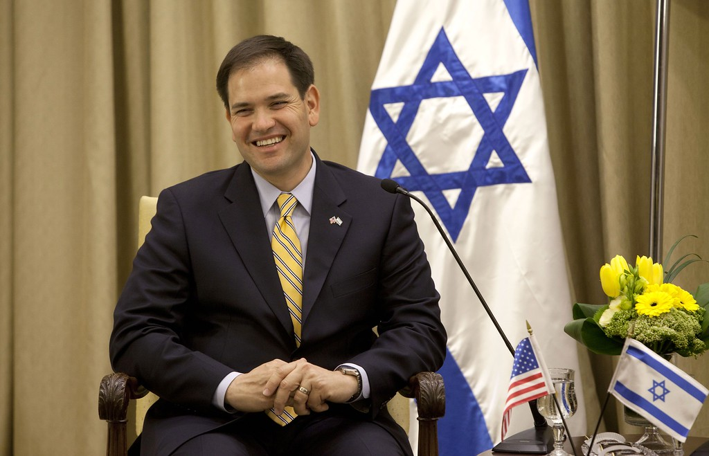 . US Sen. Marco Rubio, R-Fla. gestures as he speaks during a meeting with Israel\'s President Shimon Peres, not seen, in the President\'s residence in Jerusalem. Wednesday, Feb. 20, 2013.  (AP Photo/Sebastian Scheiner)