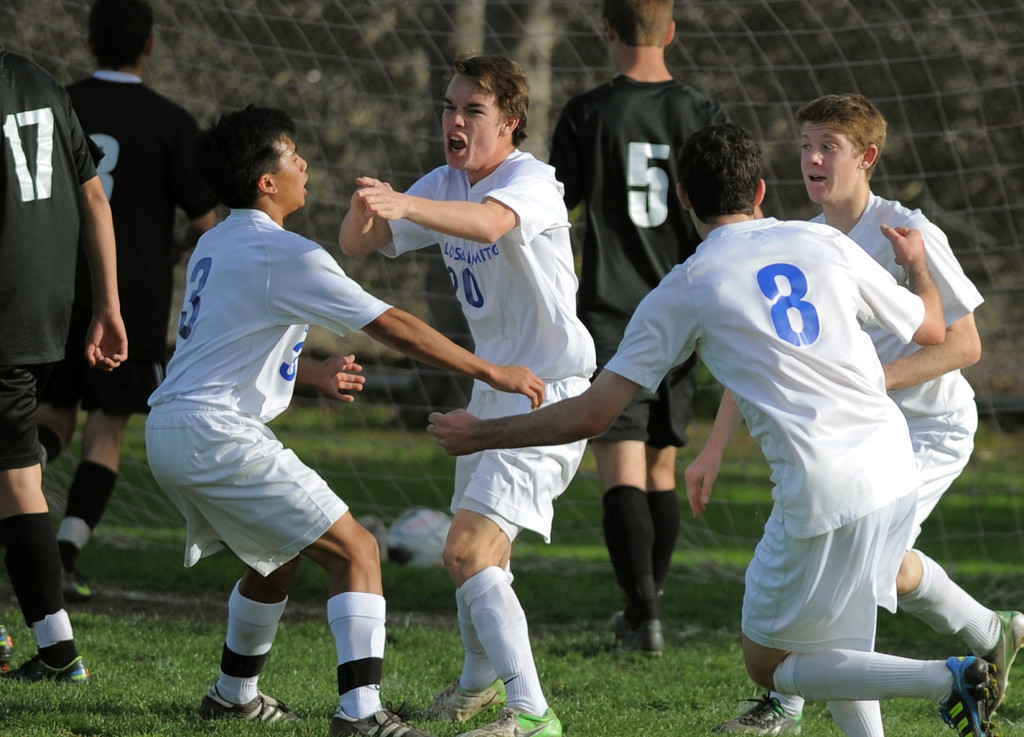 . 02-15-2012--(LANG Staff Photo by Sean Hiller)- Los Alamitos beat Buena 4-1 in the first round of the Division 1 boys soccer playoffs Friday at Laurel School in Los Alamitos. Brett Hall (20), center, celebrates his first half goal.