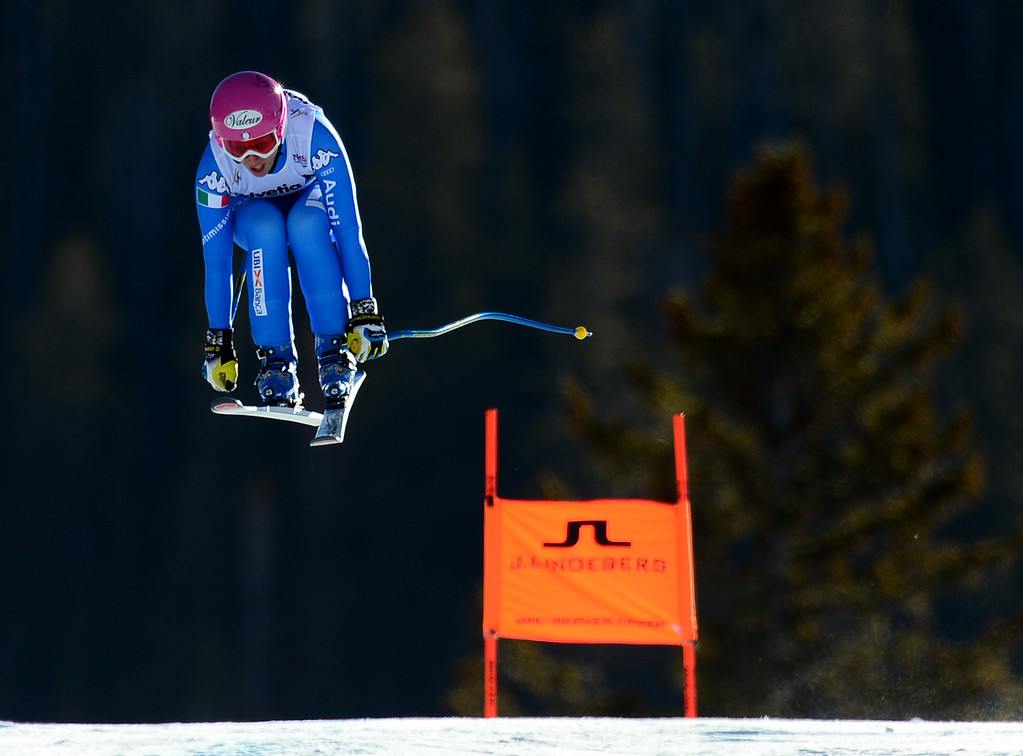 . Nadia Fanchini, (ITA) flies over the Red Tail jump, the last jump, in the Women\'s downhill race in the FIS Alpine World Ski Championships in Beaver, CO. February 6, 2015. (Photo By Helen H. Richardson/The Denver Post)