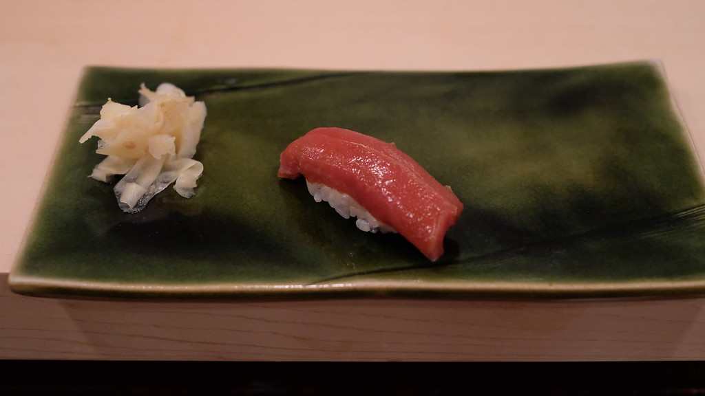 Tuna akami, or lean tuna - lean but deceptively tender.