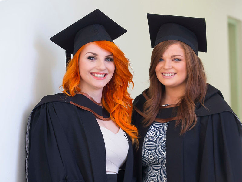 06/01/2015. FREE TO USE IMAGE. WIT (Waterford Institute of Technology) Conferring, Pictured are Anna Zdun, Clonmel, Co. Tipperary and Katy O'Connor, Cork who graduated Bachelor Arts (Hons) in Marketing. Picture: Patrick Browne
