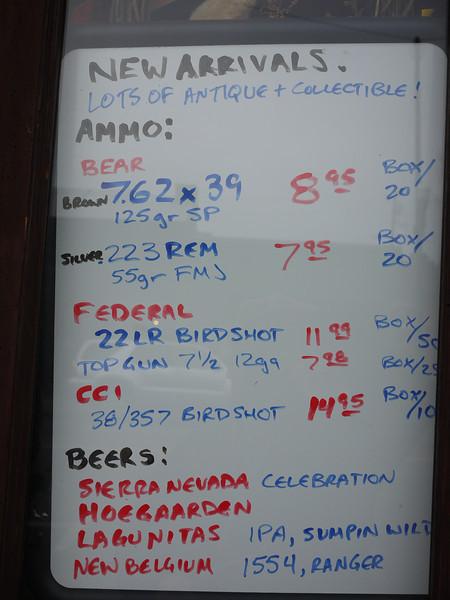 Ammo & Beer Menu