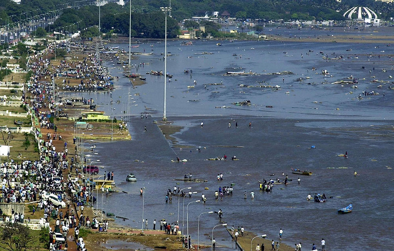 . Aerial view of the scene at the Marina beach in Madras, 26 December 2004, after tidal waves hit the region.  Tidal waves devastated the south Indian coastline Sunday killing 1000 people, the home minister said, warning that the grim death toll was expected to rise. Disaster struck just after dawn as a huge earthquake in Indonesia sent tsunamis crashing westwards, sweeping men, women and children out to sea.  STR/AFP/Getty Images