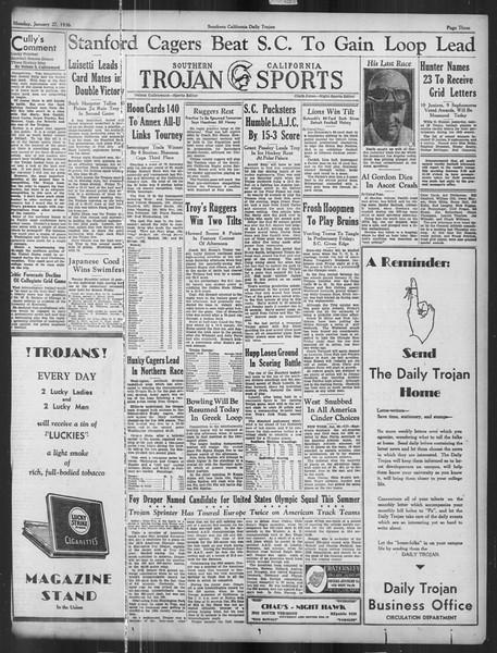 Daily Trojan, Vol. 27, No. 73, January 27, 1936