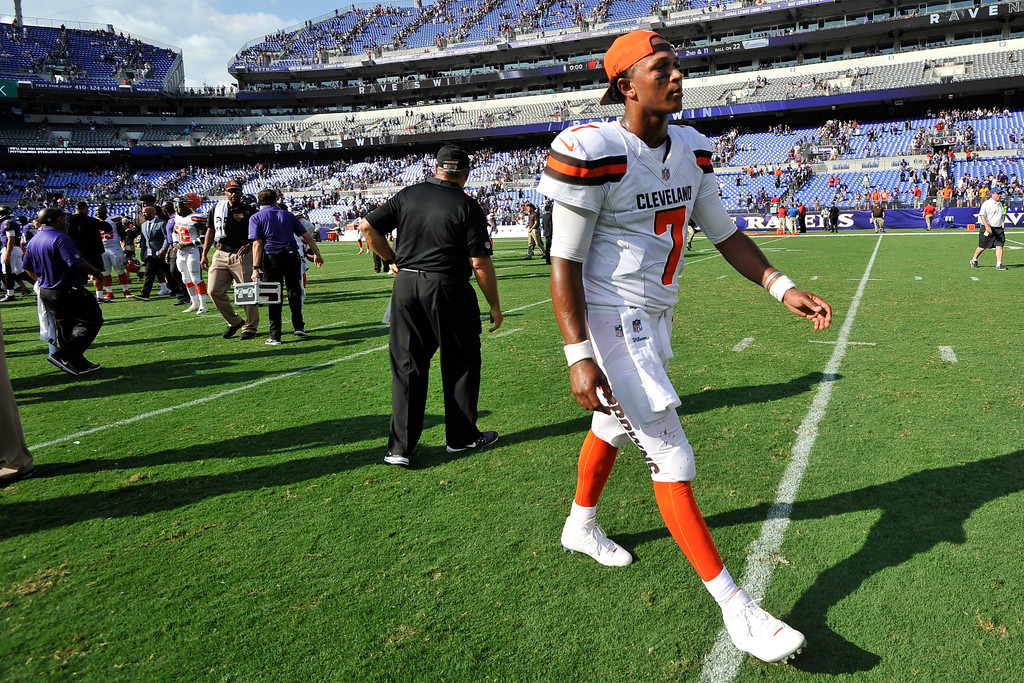 . Cleveland Browns quarterback DeShone Kizer (7) walks off the field after an NFL football game against the Baltimore Ravens in Baltimore, Sunday, Sept. 17, 2017. The Ravens defeated the Browns 24-10. (AP Photo/Gail Burton)