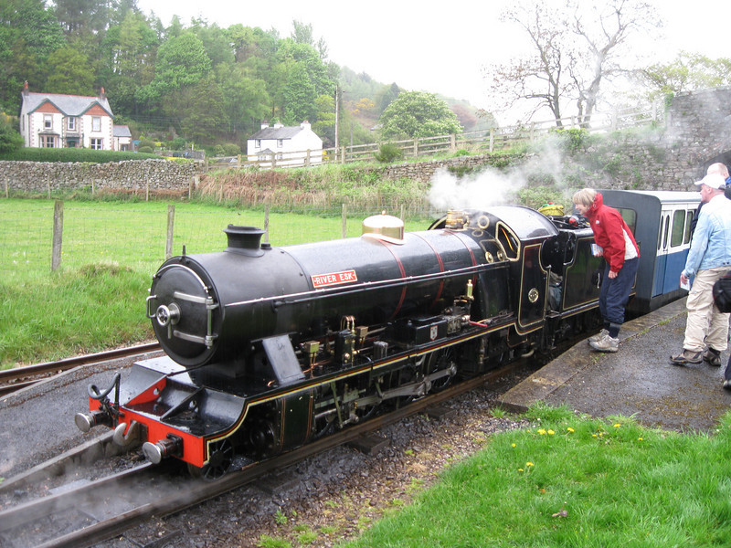 Angela talks to the driver at Irton road station: Ravenglass and Eskdale miniature railway.