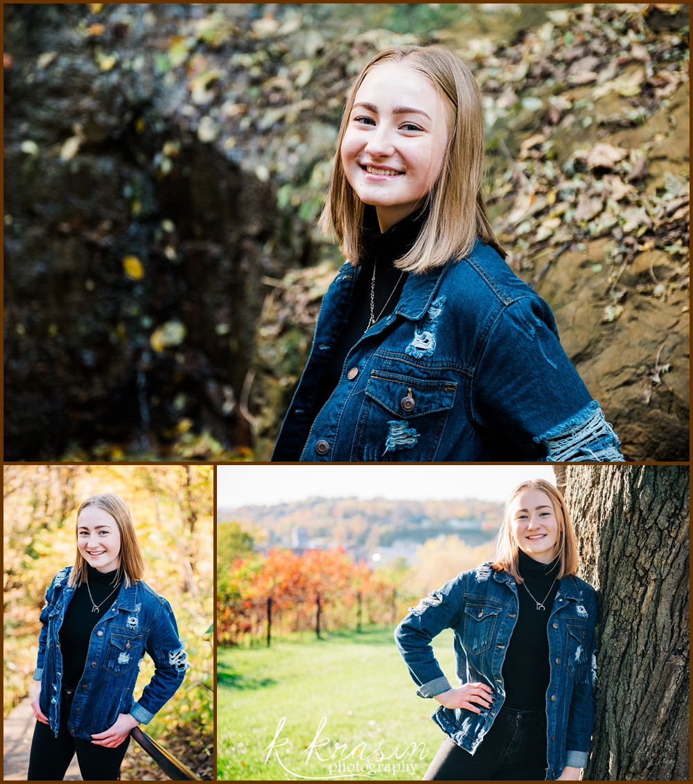 Collage of photos of senior girl