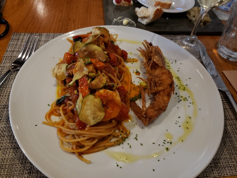 Kyra's shrimp and zucchini pasta at Mondo's Italian Restaurant
