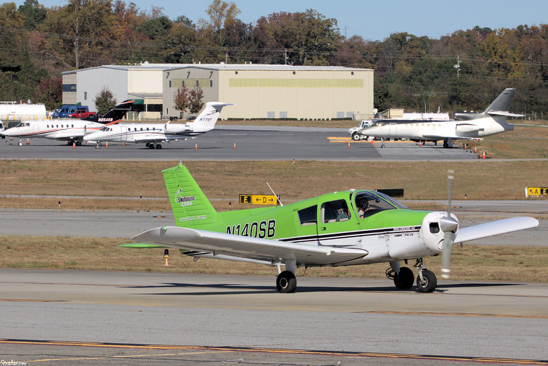 Piper PA-28-140 Chrokee  C/n 28-25681   N140SB Dekalb Peachtree (KPDK), Ga, 11/16/2020, Taxiing out for a one hour flight with a student.  This work is licensed under a Creative Commons Attribution- NonCommercial 4.0 International License.