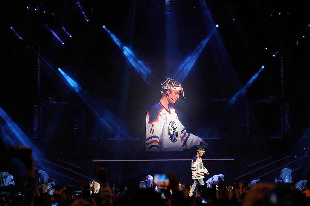 . DENVER, CO - APRIL 4: Justin Bieber performs at the Pepsi Center in Denver, Colorado on April 4, 2016. (Photo by Seth McConnell/The Denver Post)