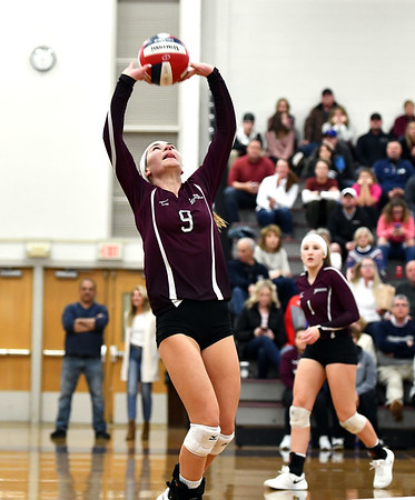 11/14/2019 Mike Orazzi | StaffrBristol Central High School's Ashleigh Clark (9) during the Class L Second Round Girls Volleyball Tournament against St. Joseph at BCHS.
