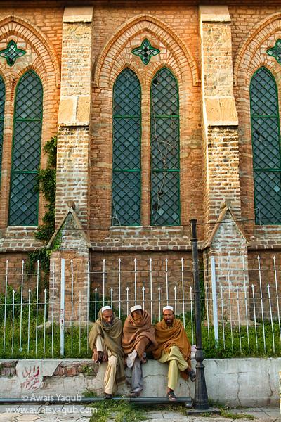 Pashtoons sitting infront of Murree Catholic Church