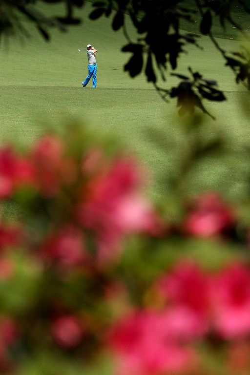. Rory McIlroy of Northern Ireland hits a shot on the 10th hole during the second round of the 2013 Masters Tournament at Augusta National Golf Club on April 12, 2013 in Augusta, Georgia.  (Photo by Mike Ehrmann/Getty Images)