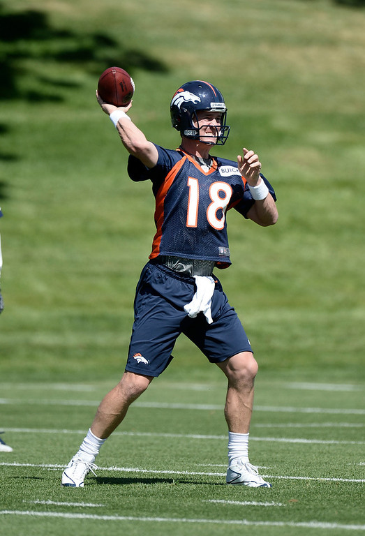 . Peyton Manning (18) QB of the Denver Broncos drops back to pass during OTAs June 3, 2013 at Dove Valley. (Photo By John Leyba/The Denver Post)