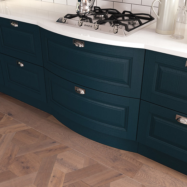 Bowed drawer front in Marine Blue