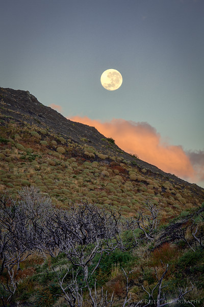 Full moon setting in Torres del Paine national park, Chile