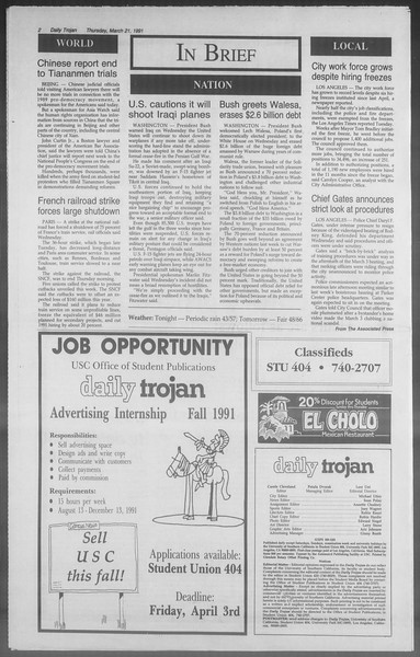 Daily Trojan, Vol. 114, No. 48, March 21, 1991