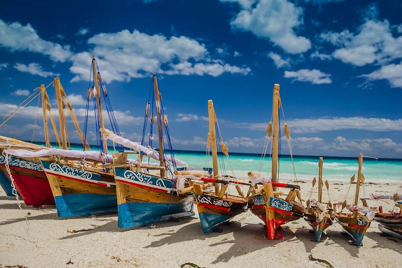 Model boats on the beach in Zanzibar