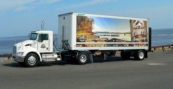 my photo on a Vancouver Island Brewery truck, August 2009