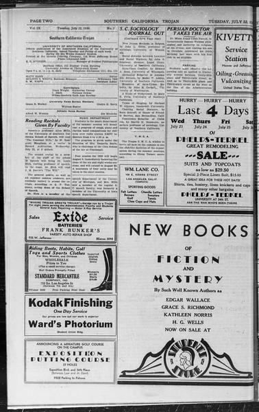Southern California Trojan, Vol. 9, No. 7, July 22, 1930