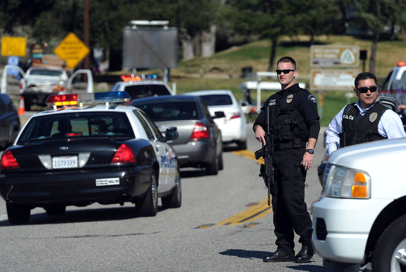 . San Bernardino County Sheriffs, assisted by multiple agencies from the region, block Highway 38 at Bryant St. were a gunfight betweeen police and Christopher Dorner took place further up the highway. Dorner shot two police officer, killing one and injuring the other, both men were transported to Loma Linda University Medical Center for treatment, Tuesday, Feb. 12, 2013.  (John Valenzuela/Staff Photographer)