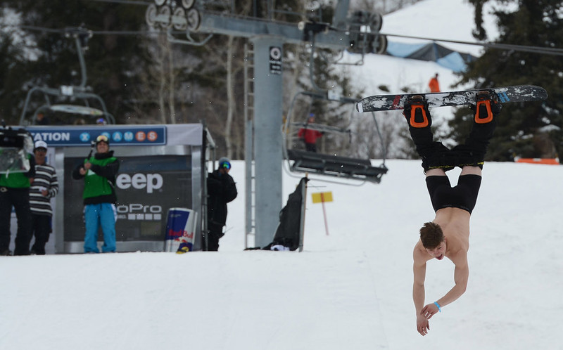. ASPEN, CO. - JANUARY 25:  Jaeger Bailey took off his shirt and dropped his pants during his last run in the Snowboard Street Final, January 25, 2013, at the 2013 Winter X Games at Buttermilk Mountain in Aspen. (Photo By RJ Sangosti / The Denver Post)