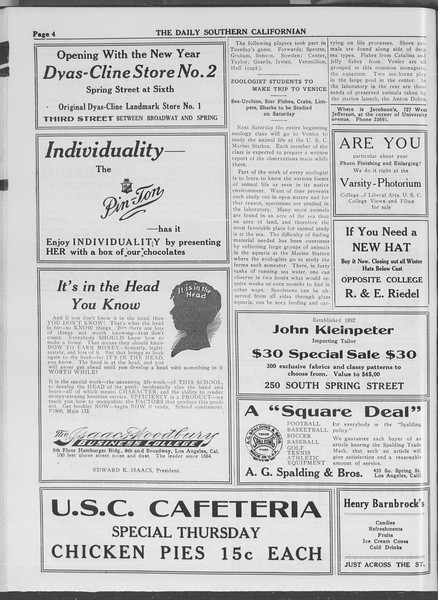 The Daily Southern Californian, Vol. 3, No. 62, January 15, 1914