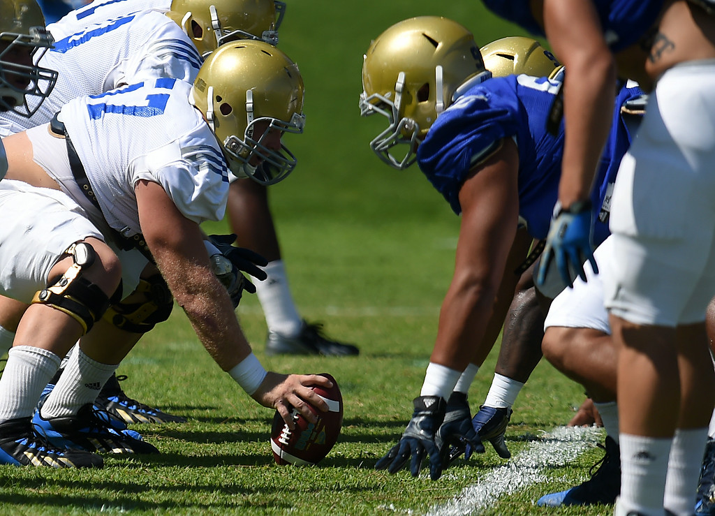 . The UCLA Bruins football practice at Cal State San Bernardino in San Bernardino, CA, Friday, August 8, 2014. (Photo by Jennifer Cappuccio Maher/Inland Valley Daily Bulletin)