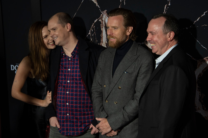 "LOS ANGELES, CALIFORNIA - OCTOBER 29: Rebecca Ferguson, Mike Flanagan, Ewan McGregor and Trevor Macy attend the premiere of Warner Bros Pictures' ""Doctor Sleep"" at Westwood Regency Theater on Tuesday October 29, 2019 in Los Angeles, California. (Photo by Tom Sorensen/Moovieboy Pictures,)"