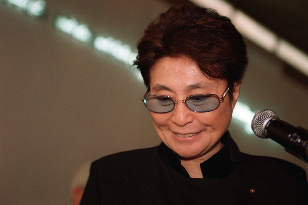 . Yoko Ono, avant-garde artist and wife of late pop star John Lennon, finishes her statements during a press conference at the Israeli Museum in Jerusalem Friday Nov. 26 1999. Ono is in Israel for the opening of her exhibits in Jerusalem and in the northern town of Um al-Fahm (AP Photo/Ruth Fremson)