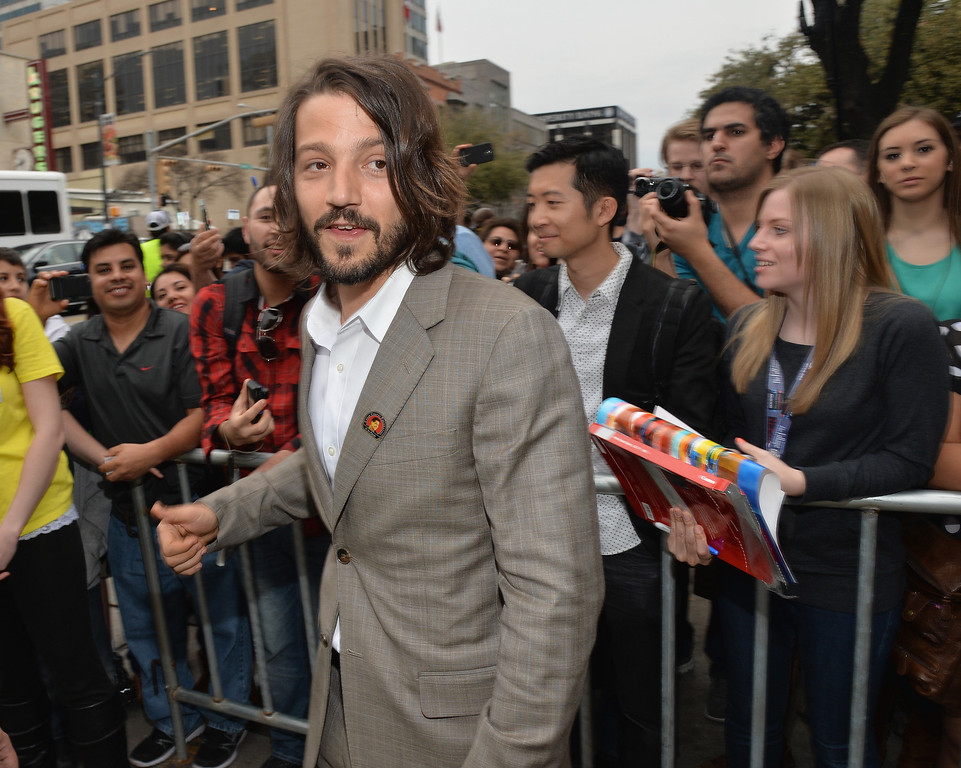 """. Director Diego Luna arrives at the premiere of \""""Cesar Chavez\"""" during the 2014 SXSW Music, Film + Interactive Festival\"""" at the Paramount Theatre on March 10, 2014 in Austin, Texas.  (Photo by Michael Buckner/Getty Images for SXSW)"""
