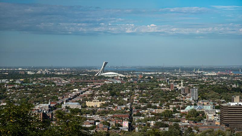 East End of Montreal & Olympic Stadium view from Mt Royal Lookout.jpg