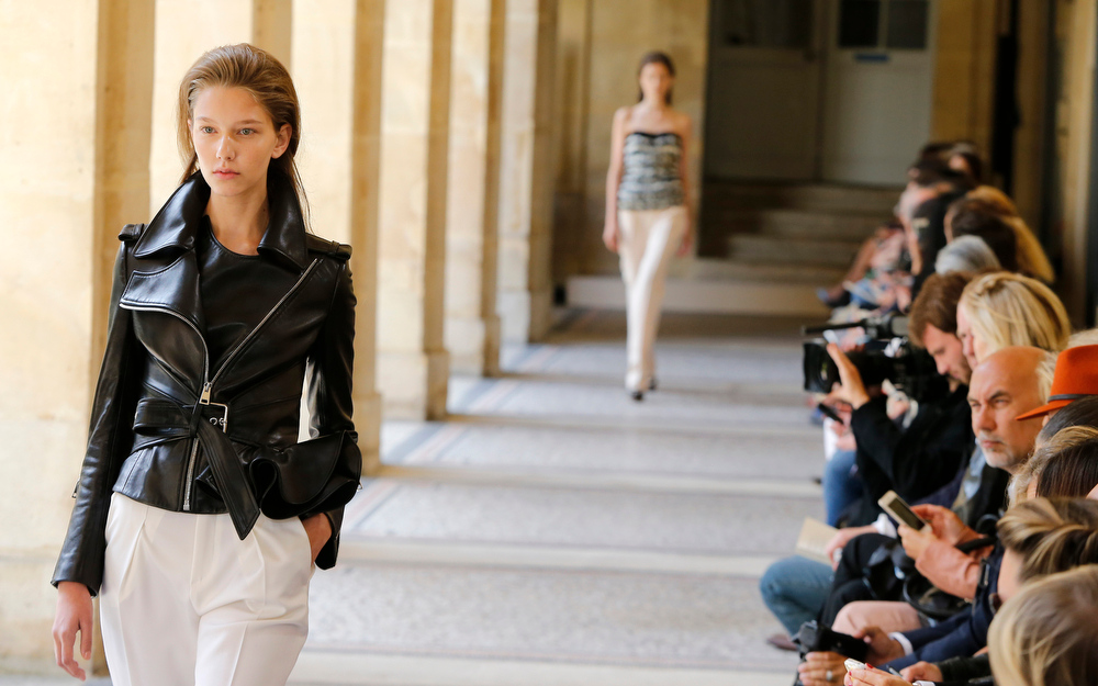 . A model wears a creation for Bouchra Jarrar\'s fall-winter 2014-2015 Haute Couture fashion collection presented in Paris, France, Tuesday, July 8, 2014. (AP Photo/Jacques Brinon)
