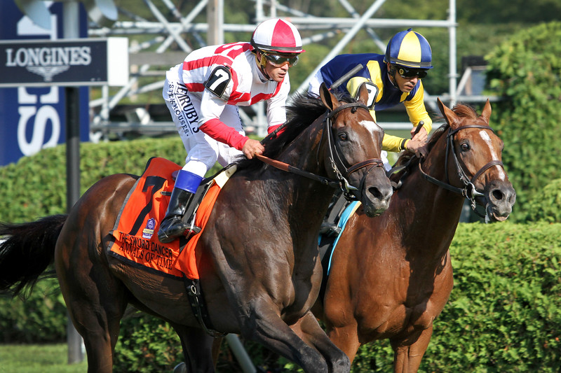 Annals of Time (Temple City) and jockey Javier Castellano win the Sword Dancer (Gr I) at Saratoga Racecourse 8/24/19. Trainer: Chad Brown. Owner: Klaravich Stables & William Lawrence