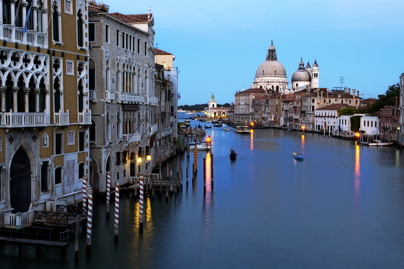 Long exposure shot of Canal Grande from Accademia Bridge with La Salute church on the background, Venice, Italy