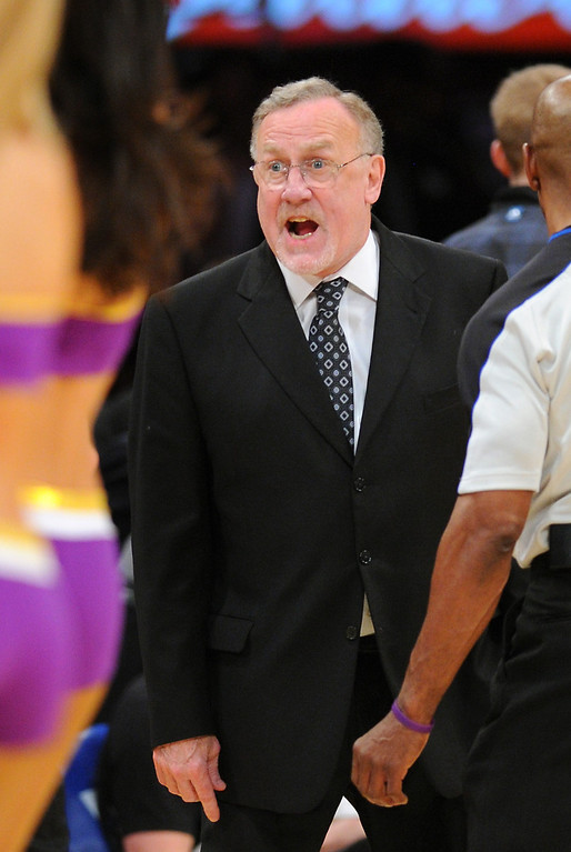 . Timberwolves coach Rick Adelman gets angry with the referees during a timout, Friday, December 20, 2013, at Staples Center. (Photo by Michael Owen Baker/L.A. Daily News)