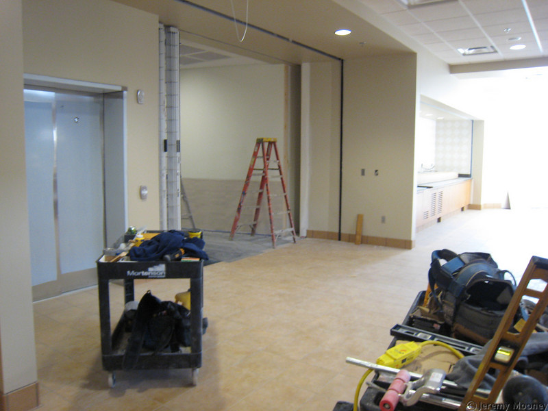 Dining center 3rd floor exit, beverage area on right.