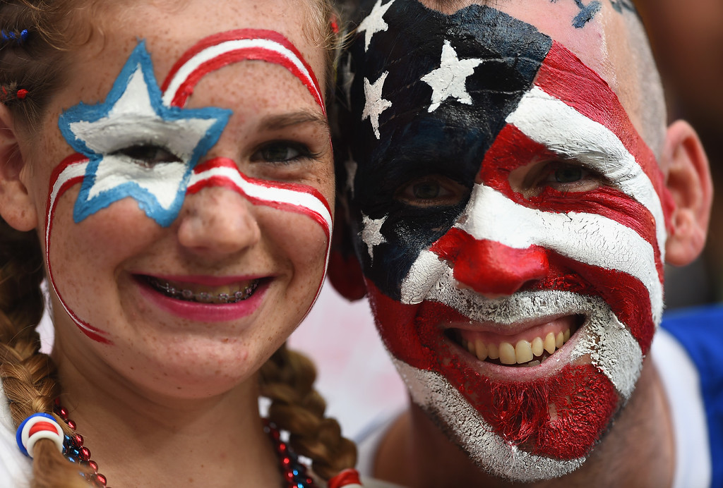 . United States fans enjoy the atmosphere prior to the 2014 FIFA World Cup Brazil Round of 16 match between Belgium and the United States at Arena Fonte Nova on July 1, 2014 in Salvador, Brazil.  (Photo by Laurence Griffiths/Getty Images)