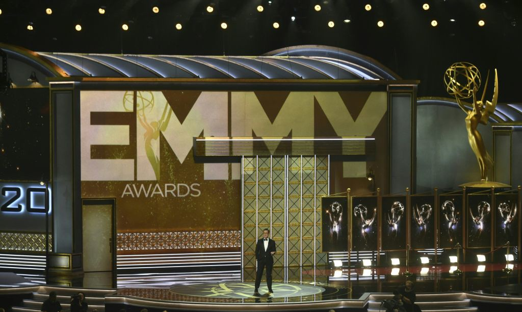 . Host Stephen Colbert speaks onstage during the 69th Emmy Awards at the Microsoft Theatre on September 17, 2017 in Los Angeles, California. (FREDERIC J. BROWN/AFP/Getty Images)