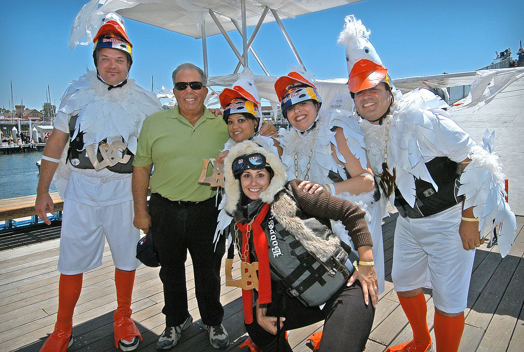 . 08/21/10:  Long Beach Mayor Bob Foster with members of the Long Beach Area Convention & Visitors Bureau, prior to the take off of the Flight of the Spruce Goose 2.0 at the Red Bull Flugtag Long Beach at Rainbow Harbor on Saturday, August 21, 2010..Photo by Diandra Jay/Press-Telegram