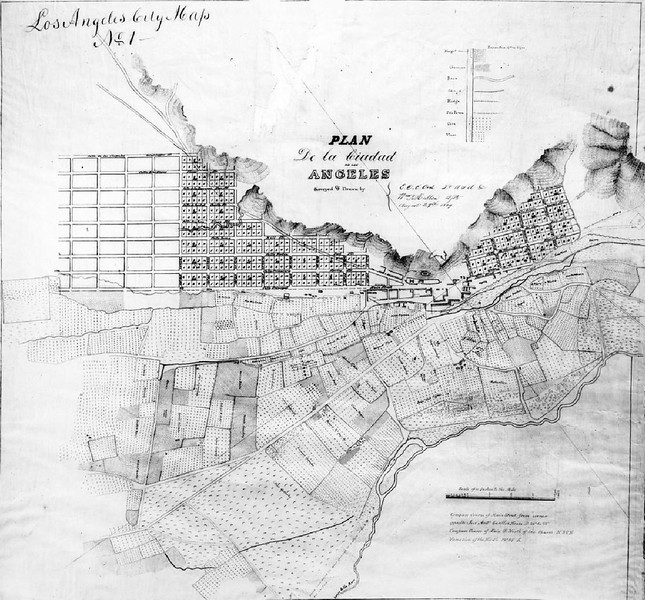 The E.O.C. Ord's first map of the city of Los Angeles, drawn in August 29, 1849
