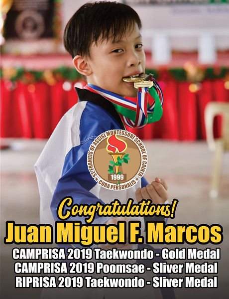 Juan Miguel F. Marcos felt weak and sick because of a high fever. Yet, his steel-like determination still managed to win the silver medal in the Riprisa Rizal Private Schools Association 2019 Taekwondo tournament last November 29, 2019. Congratulations, Juan Miguel F. Marcos (Uno), for a fantastic performance, despite all odds you did exceptionally well. You were like the main character in an action movie! Special thanks to everyone who supported Uno throughout his martial arts journey! Thank you to both Mr. and Mrs. Marcos for their unconditional love and concern. Coach Jona G. Ducot for her exceptional martial arts guidance. Ms. Maricel Doroteo for her untiring logistical support. We are all proud of you, Uno! You were amazing!