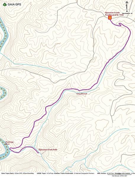 Opossum Creek Falls Hike Route Map