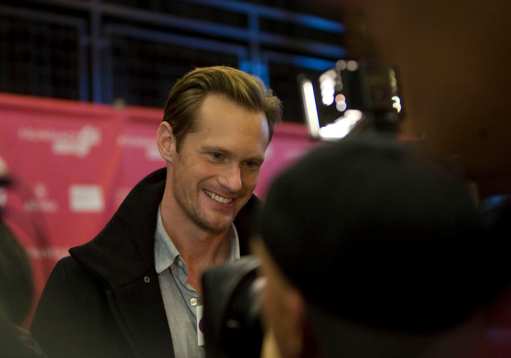 Description of . Kim Raff  |  The Salt Lake Tribune Actor Alexander Skarsgaard gives an interview on the red carpet for the premiere screening of