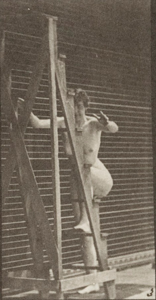 Nude woman turning ascending a stepladder