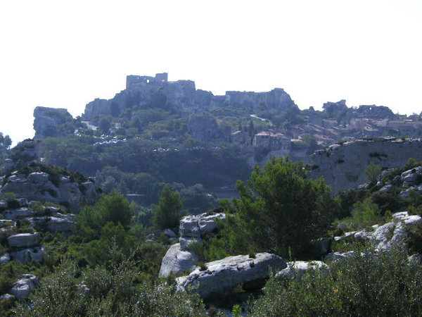 View of Les Baux from lookout at wine caves entrance