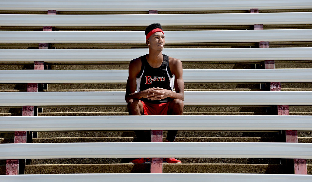 . Miles Parish, of Etiwanda High School, has been named Athlete of the Year for The Sun\'s All-Area track team. Jenn Maher staff photo The Sun.